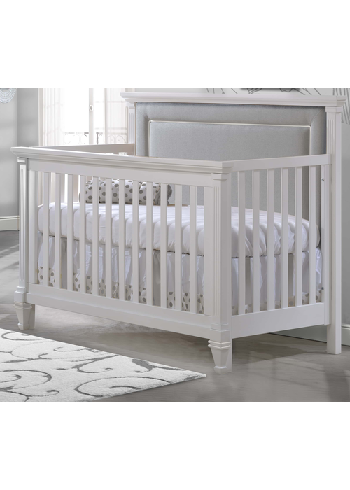 Natart Natart Belmont 4 In 1 Convertible Crib In Pure White With Tufted Panel Linen Grey