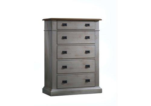 Natart Natart Cortina 5 Drawer Dresser In Grey Chalet-Cognac