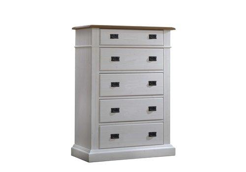 Natart Natart Cortina 5 Drawer Dresser In White Chalet-Cognac
