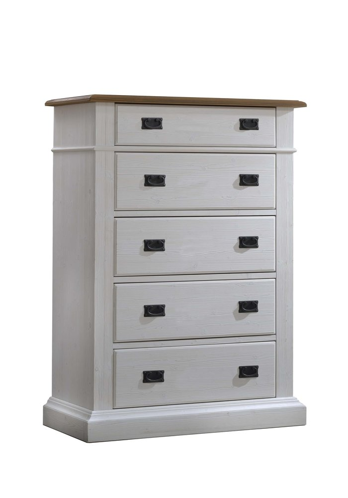Natart Cortina 5 Drawer Dresser In White Chalet-Cognac