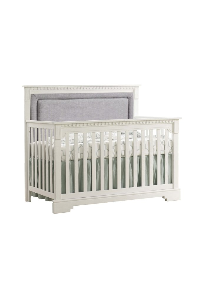 Natart Ithaca 4-in-1 Convertible Crib In Rustic White with Upholstered Panel  (w/out rails) In Fog