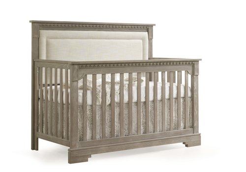 Natart Natart Ithaca 4-in-1 Convertible Crib In Sugar Cane with Upholstered Panel  (w/out rails) In Talc