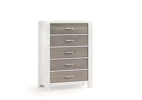 Natart Natart Rustico-Moderno 5 Drawer Dresser In White-Owl