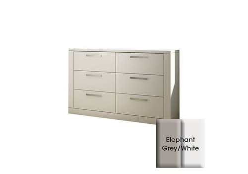 Nest Juvenile Nest Juvenile Milano Drawer Double Dresser In Elephant Grey-White