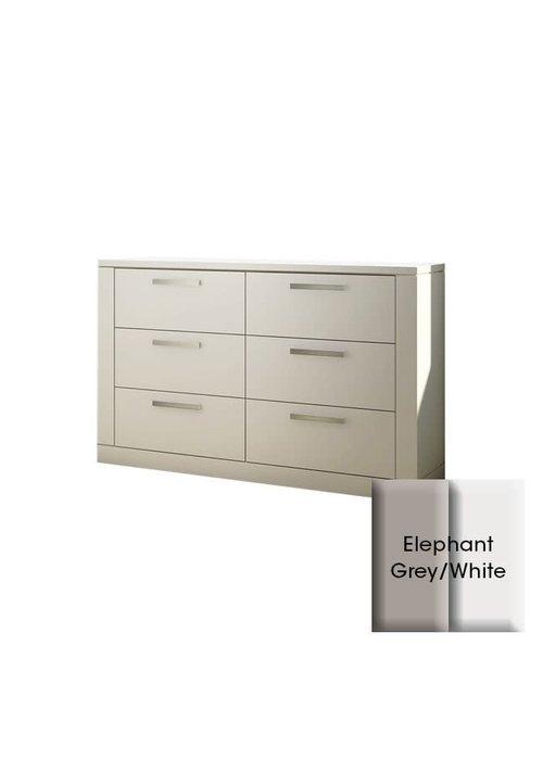 Nest Juvenile Nest Juvenile Milano Drawer Double Dresser In Elephant Grey-White