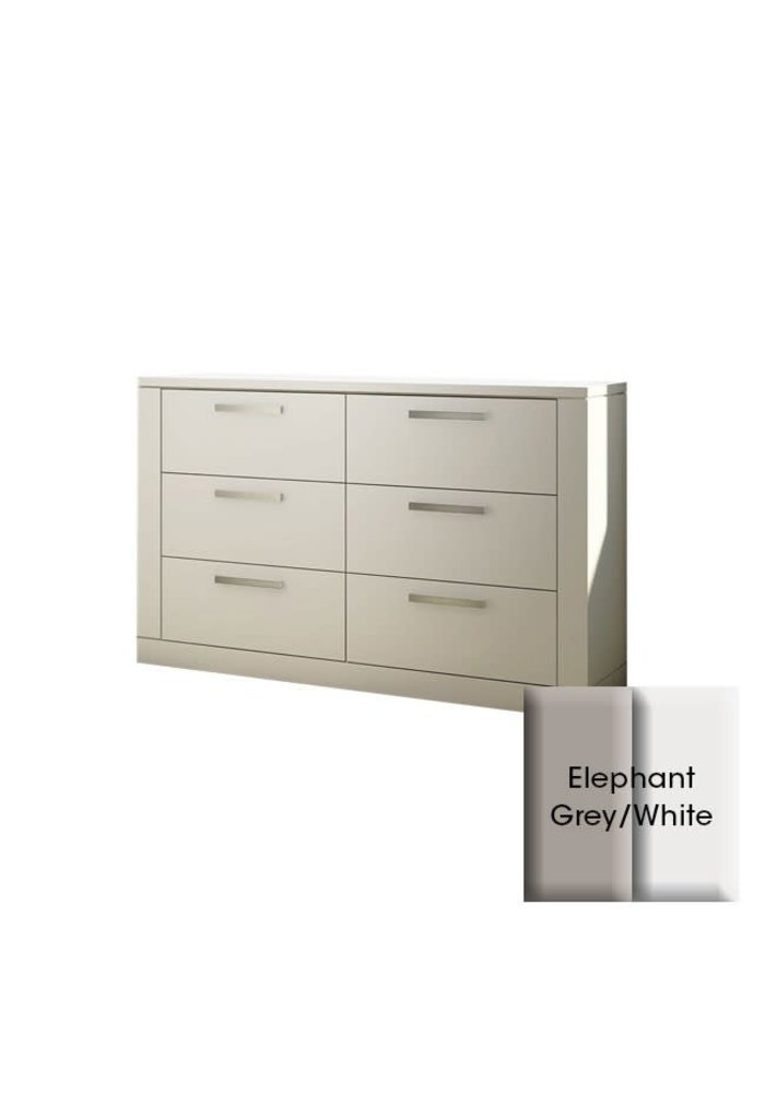 Nest Juvenile Milano Drawer Double Dresser In Elephant Grey-White