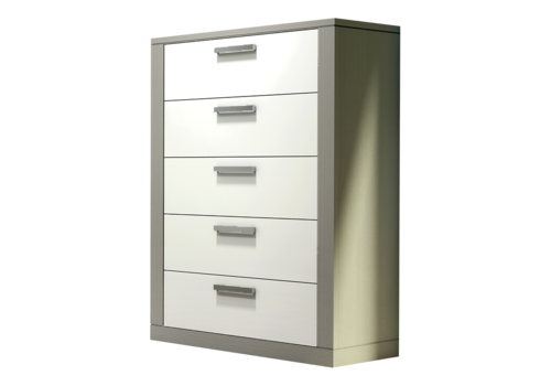 Nest Juvenile Nest Juvenile Milano 5 Drawer Dresser In Elephant Grey-White