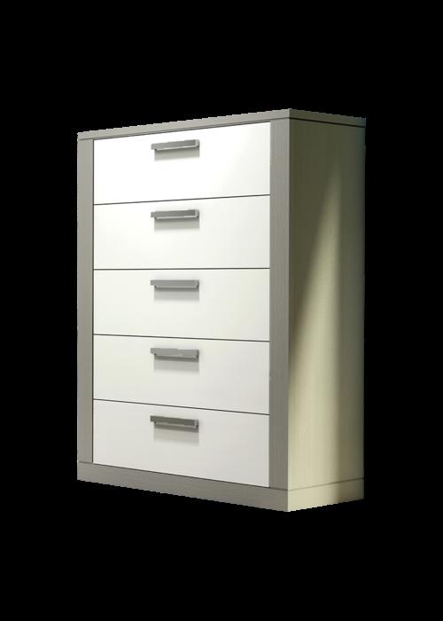 Nest Juvenile Nest Juvenile Milano 5 Drawer Dresser In Elephant Grey-White