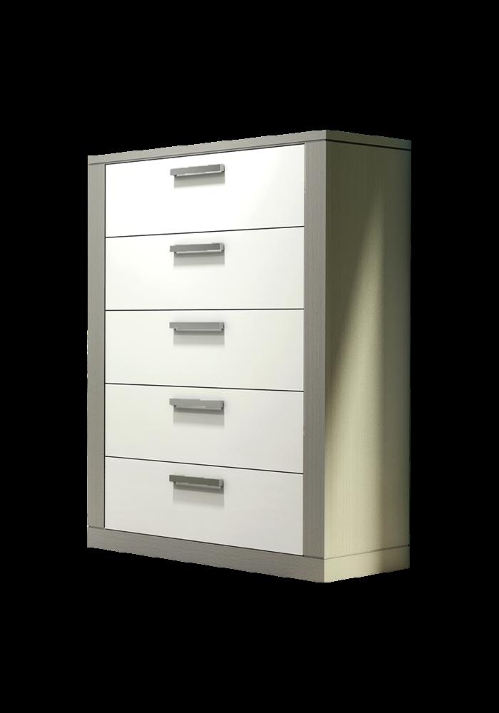 Nest Juvenile Milano 5 Drawer Dresser In Elephant Grey-White