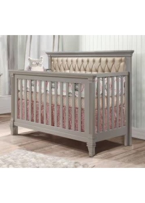 Natart Natart Belmont 4 In 1 Convertible Crib In Elephant Grey With Tufted Panel Platinum