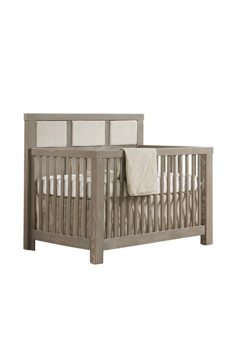 Natart Natart Rustico 4-in-1 Convertible Crib In Sugar Cane with upholstered Panel Talc