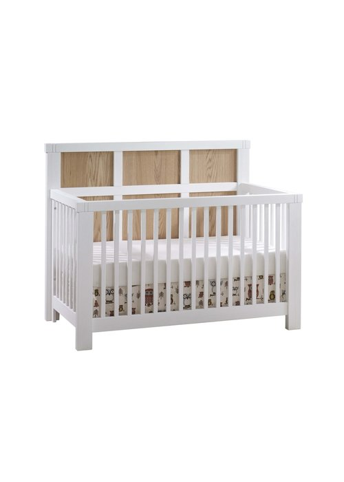 Natart Natart Rustico-Moderno 4-in-1 Convertible Crib with Wood Panel (w/out rails) In White/Natural Oak