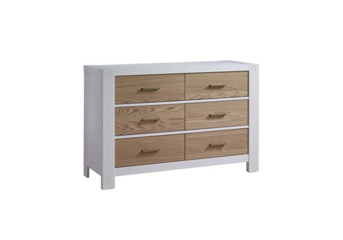 Natart Natart Rustico-Moderno Double Dresser In White- Natural Oak