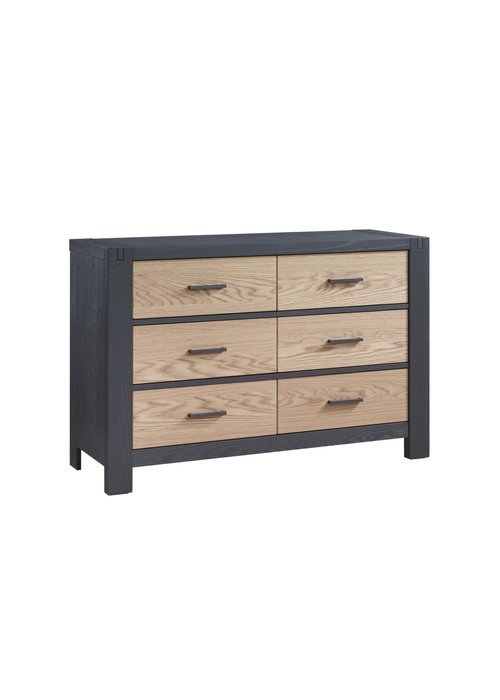Natart Natart Rustico-Moderno Double Dresser In Grigio- Natural Oak