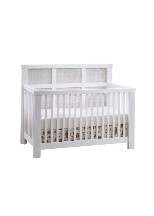 Natart Natart Rustico-Moderno 4-in-1 Convertible Crib with Wood Panel (w/out rails) In White-White Bark