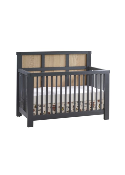Natart Natart Rustico-Moderno 4-in-1 Convertible Crib with Wood Panel (w/out rails) In Graphite-Natural Oak