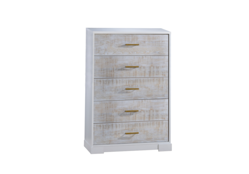 Nest Juvenile Nest Juvenile Vibe Collection 5 Drawer Tall Dresser In White/White Bark