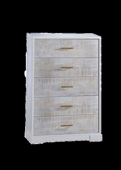 Nest Juvenile Nest Juvenile Vibe Collection 5 Drawer Tall Dresser In White/White Bark