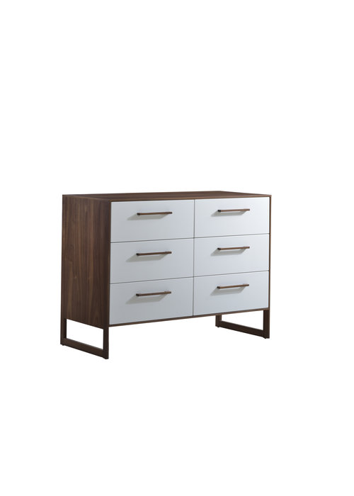 Natart Natart Juvenile Rio Double Dresser Walnut/Glossy White
