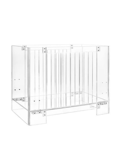 Nursery Works Nursery Works Vetro Crib Mini Size In Clear With Pure Mini Crib Mattress