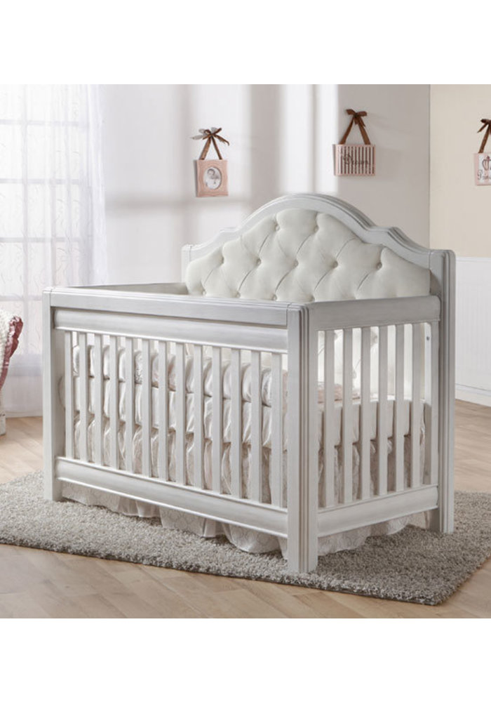 Pali Furniture Cristallo Forever Crib In Vintage White With Fabric