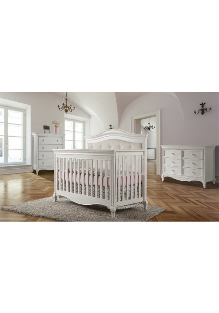 Pali Furniture Diamante Forever Crib In Vintage White With Fabric