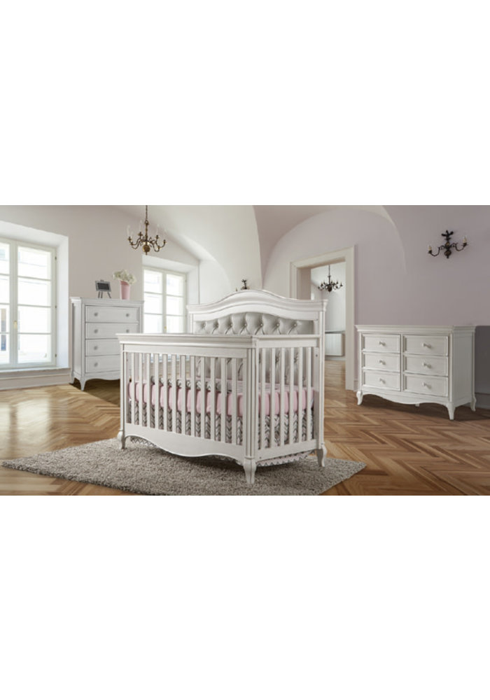 Pali Furniture Diamante Forever Crib In Vintage White with Grey Panel