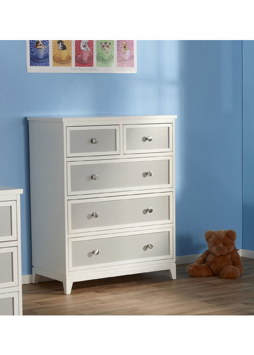 Pali Furniture Pali Furniture Treviso 5 Drawer Dresser In White-Grey