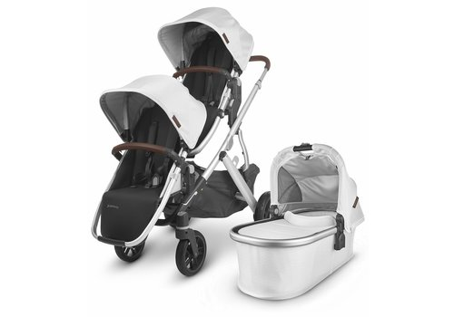 UppaBaby UPPAbaby 2020 Vista V2 Double Stroller - Bryce (White Marl/Silver/Chestnut Leather)