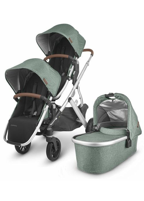 UppaBaby UPPAbaby 2020 Vista V2 Double Stroller - Emmett (Green Mélange/Silver/Saddle Leather)