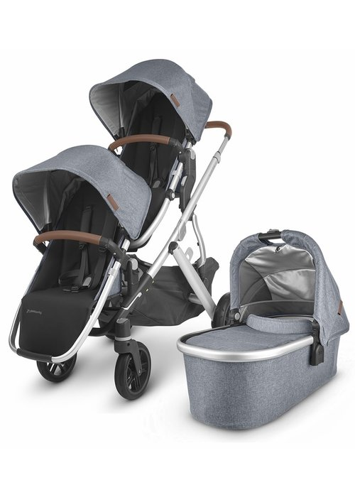 UppaBaby UPPAbaby 2020 Vista V2 Double Stroller - Gregory (Blue Mélange/Silver/Saddle Leather)