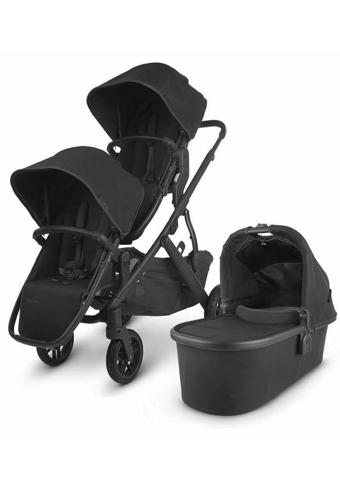 UPPAbaby 2020 Vista V2 Double Stroller - Jake (Black/Carbon/Black Leather)