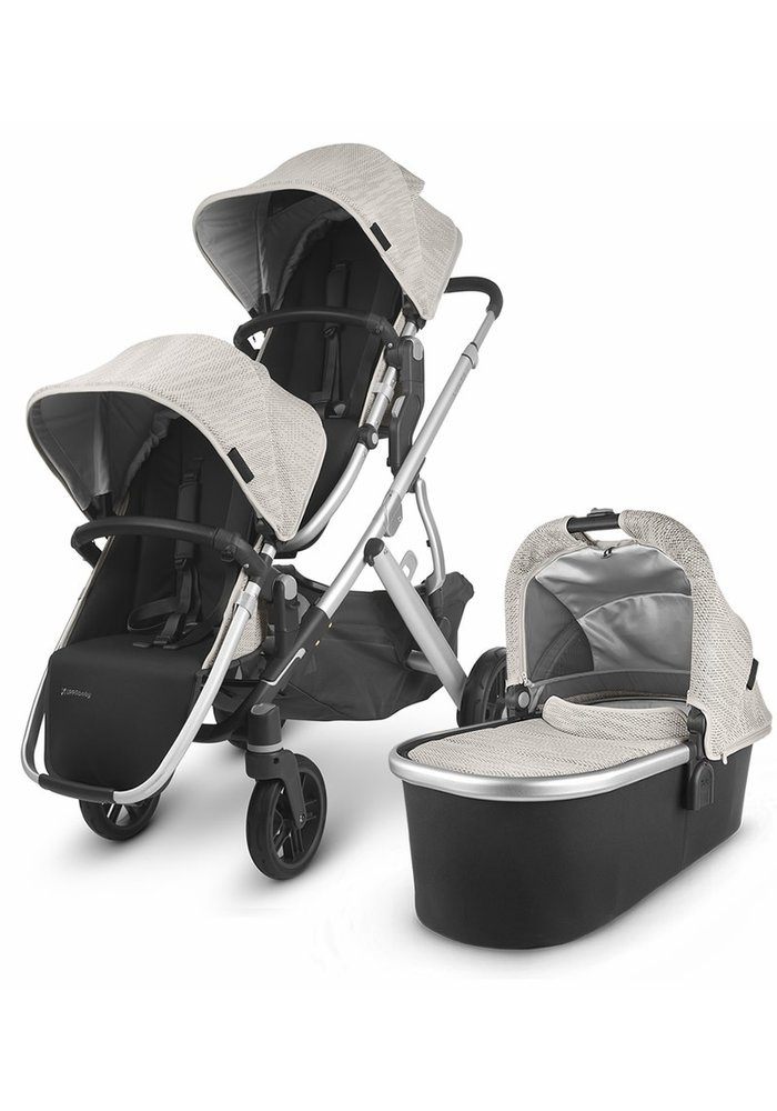 UPPAbaby 2020 Vista V2 Double Stroller - Sierra (Dune Knit/Silver/Black Leather)
