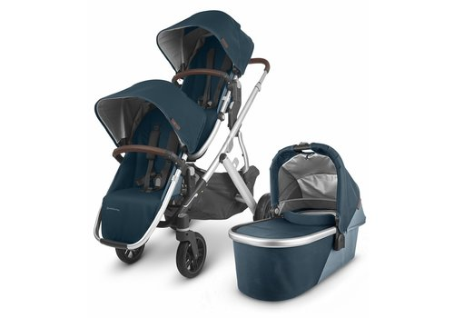 UppaBaby UPPAbaby 2020 Vista V2 Double Stroller - Finn (Deep Sea/Silver/Chestnut Leather)