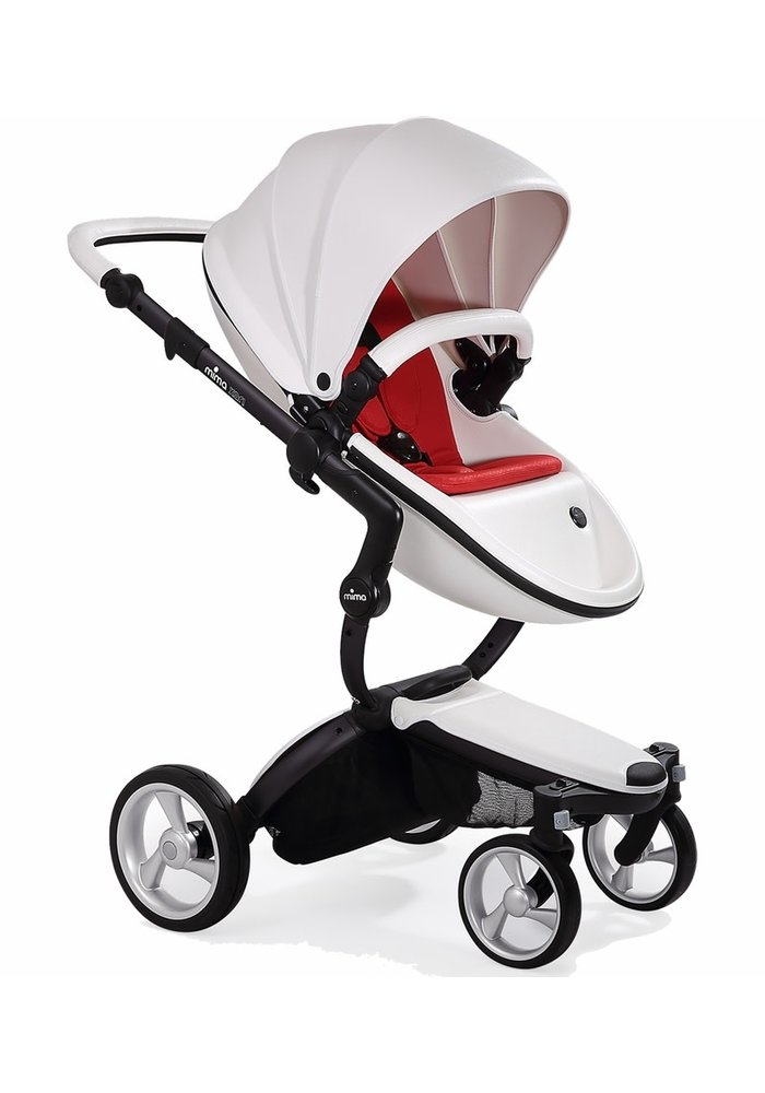 Mima Xari Complete Stroller, Black - Snow White / Ruby Red