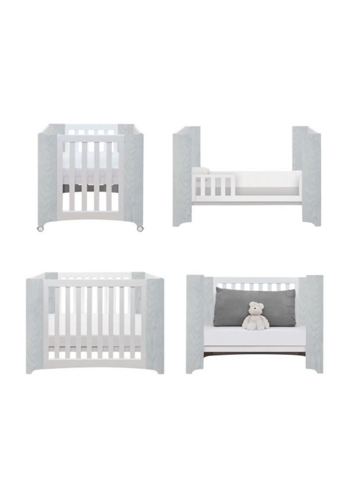 Cocoon Evoluer 4 In 1 Dove Grey- Bassinet, Crib, Toddler, Day Bed