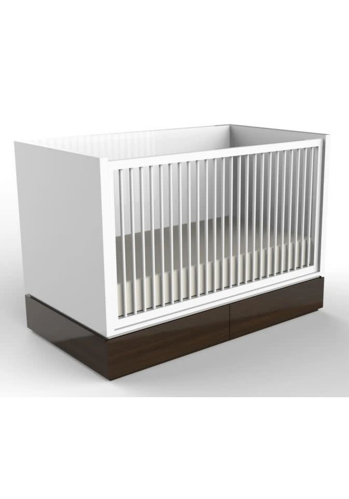 Duc Duc Dylan Crib In White/Stained Walnut