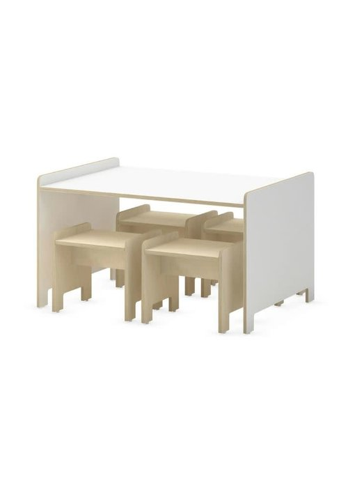 Duc Duc Duc Duc Juno Playtable & Playstools In White