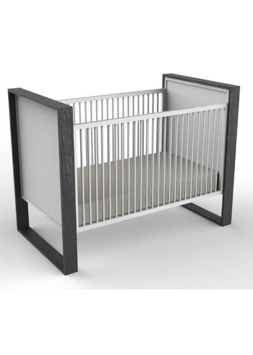 Duc Duc Duc Duc Parker Crib (Painted) In Dark Gray Cerused/White