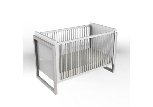 Duc Duc Duc Duc Campaign Crib II In Solid Color Glaze Silver On Oak