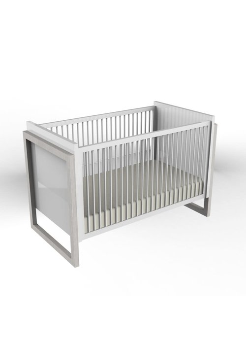 Duc Duc Duc Duc Campaign Crib II In Solid Color Glaze Silver On Oak
