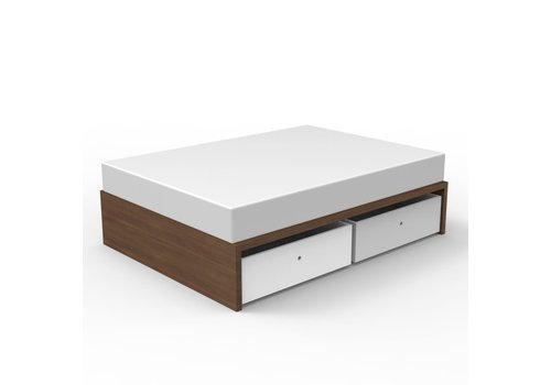 Duc Duc Duc Duc Alex Symmetric Twin Platform Bed In Natural Walnut/White