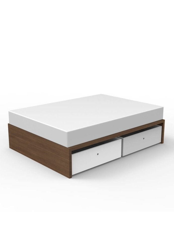 Duc Duc Alex Symmetric Twin Platform Bed In Natural Walnut/White