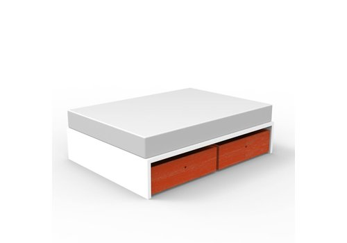 Duc Duc Duc Duc Alex Symmetric Twin Platform Bed In White/Orange Cerused