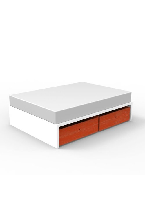 Duc Duc Duc Duc Alex Symmetric Twin Platform Bed In White/Orange Cerused