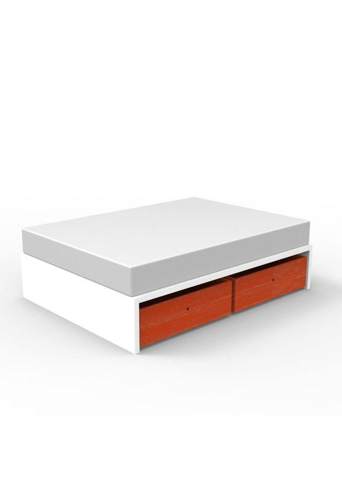 Duc Duc Alex Symmetric Twin Platform Bed In White/Orange Cerused