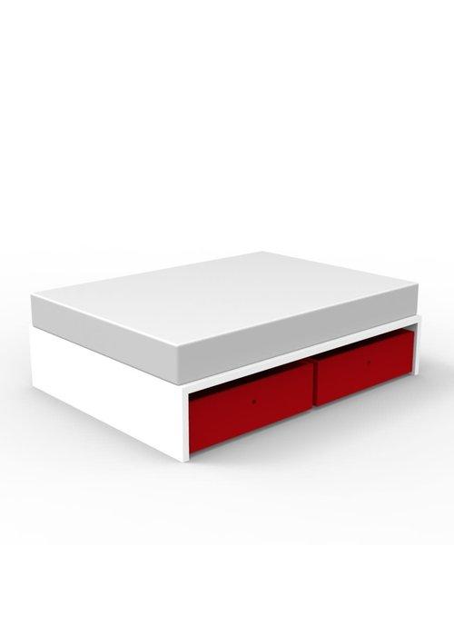 Duc Duc Duc Duc Alex Symmetric Twin Platform Bed In White/Red