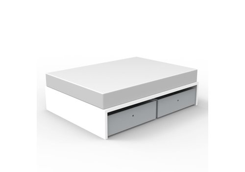 Duc Duc Duc Duc Alex Symmetric Twin Platform Bed In White/Light Gray