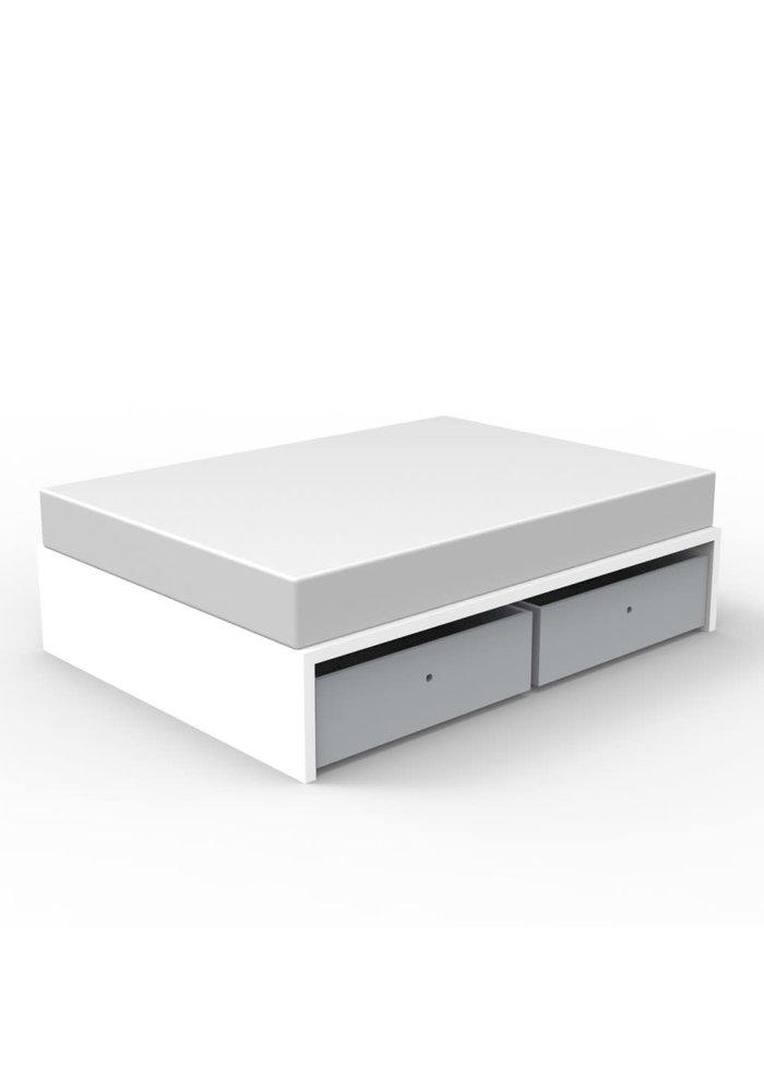 Duc Duc Alex Symmetric Twin Platform Bed In White/Light Gray