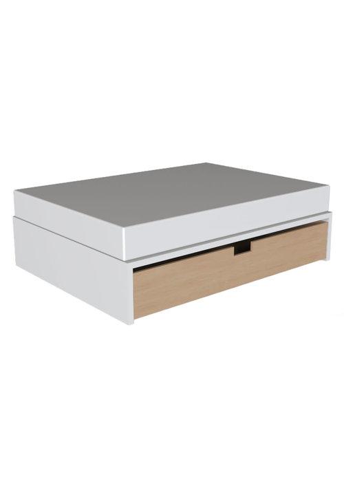 Duc Duc Duc Duc Alex Symmetric Twin Platform Bed In White/Natural Maple